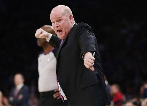 Charlotte Hornets coach Steve Clifford reacts to a call during the first half of the team's NBA basketball game against the New York Knicks on Tuesday, Nov. 7, 2017, in New York.