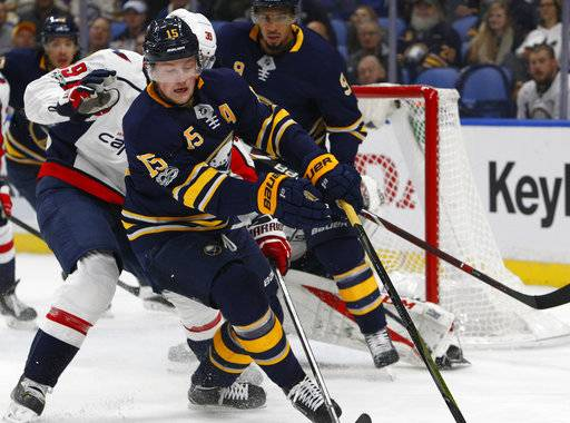 Buffalo Sabres forward Jack Eichel (15) looks for the puck during the first period of an NHL hockey game against the Washington Capitals, Tuesday Nov. 7, 2017, in Buffalo, N.Y. (AP Photo/Jeffrey T. Barnes)