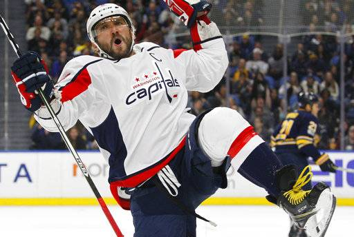 Washington Capitals forward Alex Ovechkin (8) celebrates his goal during the second period of an NHL hockey game against the Buffalo Sabres, Tuesday Nov. 7, 2017, in Buffalo, N.Y.