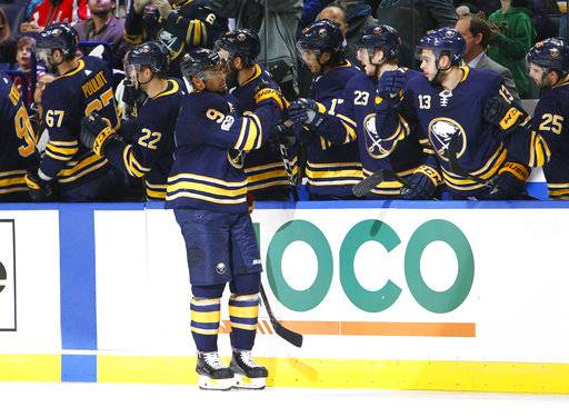 Buffalo Sabres forward Evander Kane (9) celebrates his goal during the second period of an NHL hockey game against the Washington Capitals, Tuesday Nov. 7, 2017, in Buffalo, N.Y.