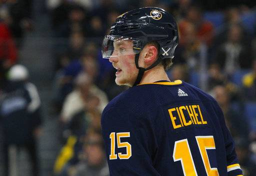 Buffalo Sabres forward Jack Eichel (15) looks on during the first period of an NHL hockey game against the Washington Capitals, Tuesday Nov. 7, 2017, in Buffalo, N.Y.