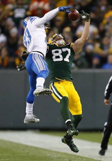 Detroit Lions' Darius Slay brealks up a pass intended for Green Bay Packers' Jordy Nelson during the second half of an NFL football game Monday, Nov. 6, 2017, in Green Bay, Wis.