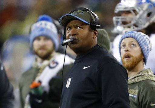 Detroit Lions head coach Jim Caldwell watches during the second half of an NFL football game against the Green Bay Packers Monday, Nov. 6, 2017, in Green Bay, Wis.
