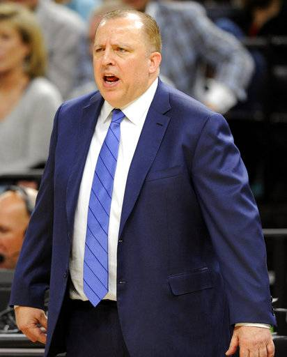 Minnesota Timberwolves head coach Tom Thibodeau calls out to his team during the second half of an NBA basketball game against the Dallas Mavericks on Saturday, Nov. 4, 2017, in Minneapolis. The Timberwolves won 112-99.