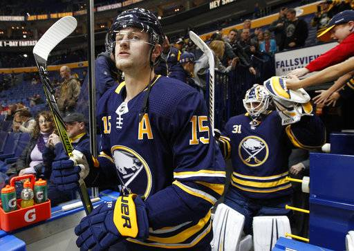 Buffalo Sabres forward Jack Eichel (15) looks on prior to the first period of an NHL hockey game against the Washington Capitals, Tuesday Nov. 7, 2017, in Buffalo, N.Y. (AP Photo/Jeffrey T. Barnes)