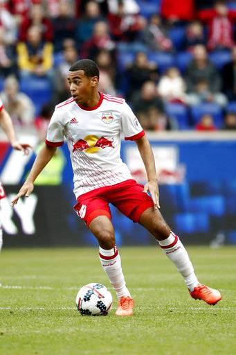 FILE - In this March 25, 2017, file photo, New York Red Bulls midfielder Tyler Adams controls the ball against Real Salt Lake during the first half of an MLS soccer match, in Harrison, N.J. Adams could make his U.S. national team debuts in a Nov. 14 exhibition at Portugal.