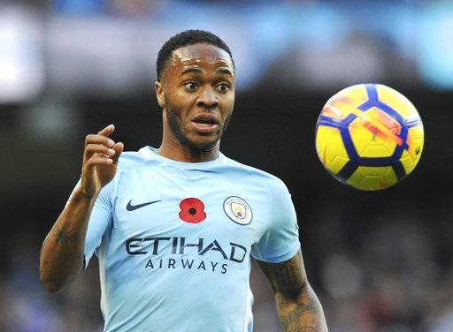 Manchester City's Raheem Sterling chases the ball during the English Premier League soccer match between Manchester City and Arsenal at Etihad stadium, Manchester, England, Sunday, Nov. 5, 2017.