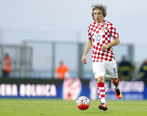 FILE - This is a Saturday, June 4, 2016  file photo of Croatia's Luka Modric as he controls the ball during the international friendly soccer match between Croatia and San Marino, in Rijeka, Croatia. Modric Croatia's top player will be well-rested and fully focused when Croatia attempts to secure a World Cup spot in the playoffs against Greece beginning on Thursday Nov. 9, 2017.