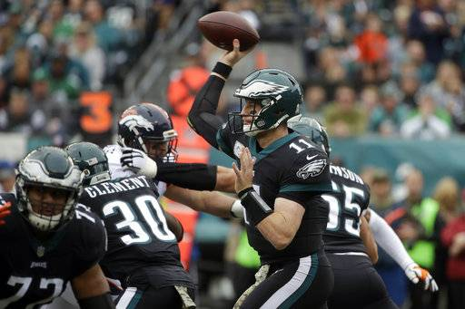 Philadelphia Eagles' Carson Wentz passes during the first half of an NFL football game against the Denver Broncos, Sunday, Nov. 5, 2017, in Philadelphia. (AP Photo/Matt Rourke)