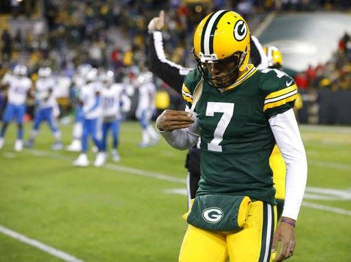 Green Bay Packers' Brett Hundley walks off the field during the second half of an NFL football game against the Detroit Lions Monday, Nov. 6, 2017, in Green Bay, Wis. The Lions won 30-17.