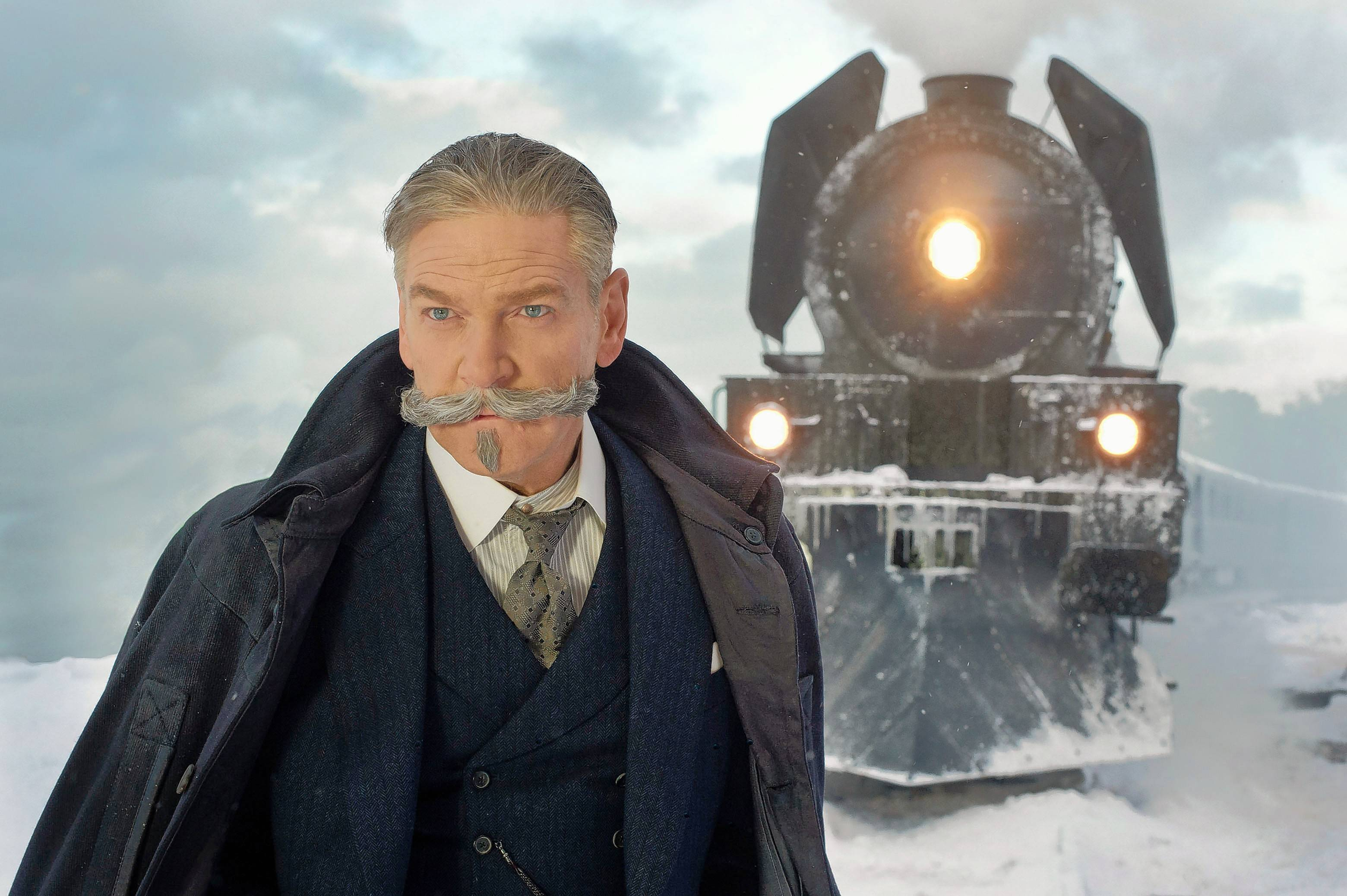 "Kenneth Branagh looks a bit villainous as detective Hercule Poirot in Agatha Christie's ""Murder on the Orient Express."""