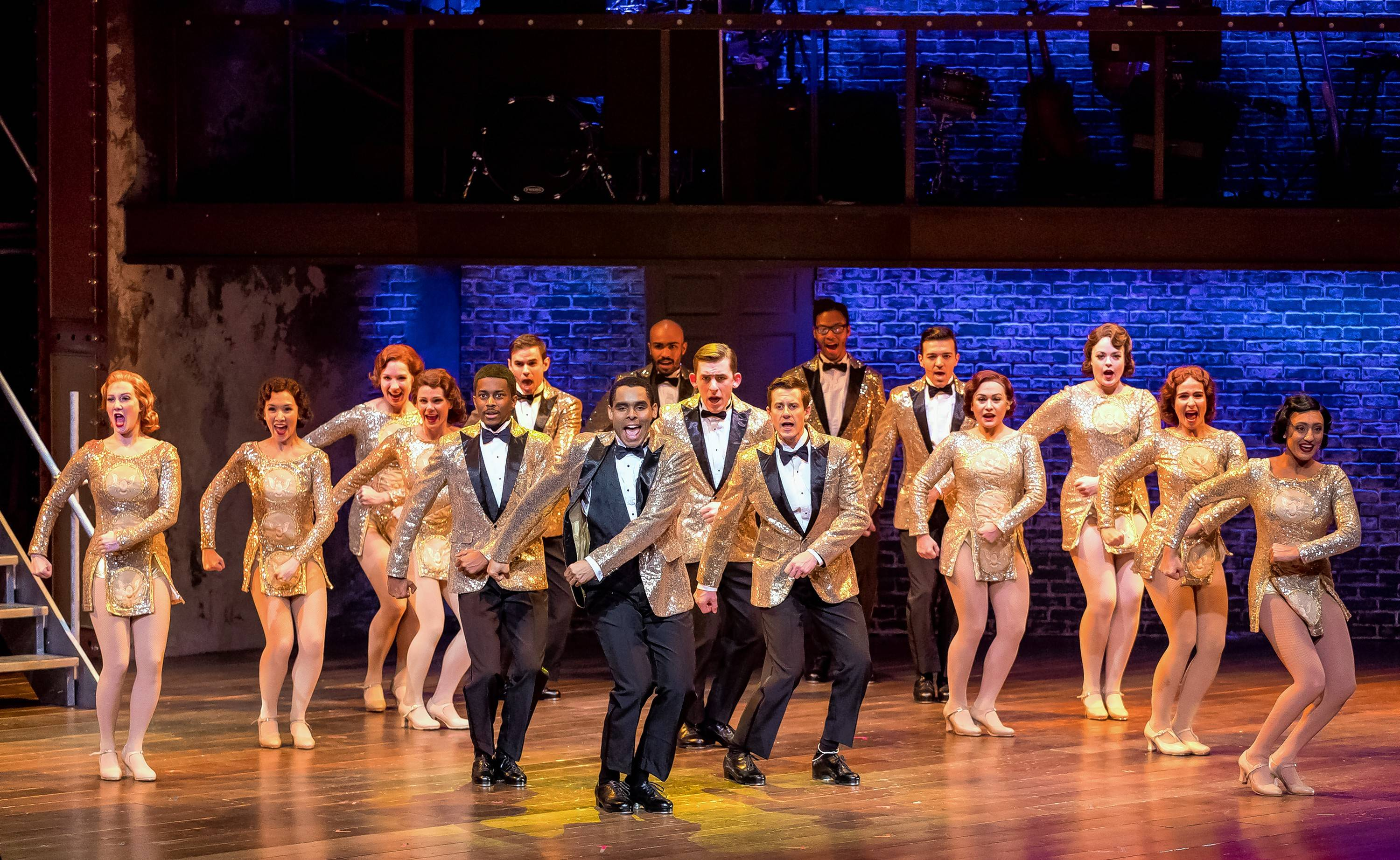 "The dancers of the fictional show-within-a-show ""Pretty Lady"" perform the revamped Act I finale ""We're in the Money"" in ""42nd Street"" at Drury Lane Theatre."