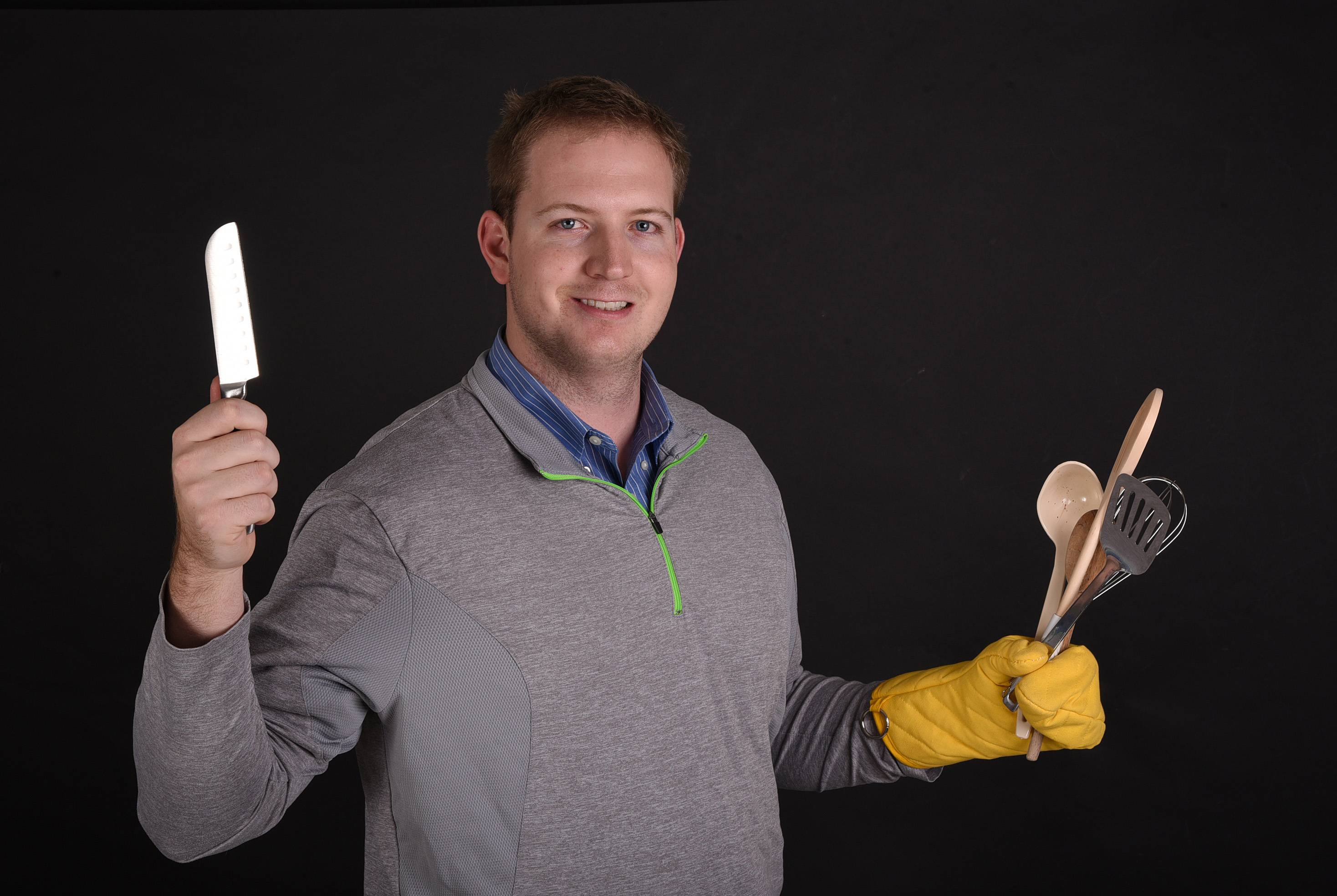 Ben Blake of Winfield has cooking tools at the ready for the Monday, Nov. 13, live cook-off.