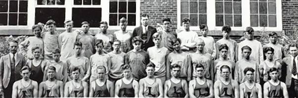 The 1932 track team was fourth in the state. Vange Burnett is in the front row, fourth from right. Head coach Larry Crawford is second row, far right.