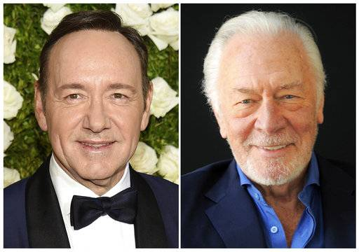 "This combination photo shows Kevin Spacey at the Tony Awards in New York on June 11, 2017, left, and  Christopher Plummer during a portrait session in Beverly Hills, Calif. on July 25, 2013. Spacey is getting cut out of Ridley Scott's finished film ""All the Money in the World� and replaced by Christopher Plummer just over one month before it's supposed to hit theaters. People close to the production who were not authorized to speak publicly say Plummer is commencing reshoots immediately in the role of J. Paul Getty."