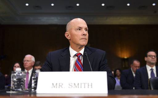 "Richard Smith, former Chief Executive Officer of Equifax, Inc., waits to testify before the Senate Commerce Committee on Capitol Hill in Washington, Wednesday, Nov. 8, 2017, during a hearing on ""Protecting Consumers in the Era of Major Data Breaches"" after the 2013 data breach at Yahoo! that affected 3 billion user accounts and another earlier this year at Equifax that hit around 145 million."