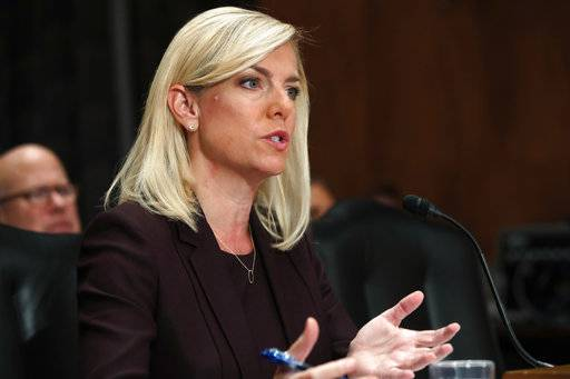 Kirstjen Nielsen testifies during a Senate Homeland Security and Governmental Affairs committee hearing on her nomination to be Department of Homeland Security Secretary, Wednesday, Nov. 8, 2017, on Capitol Hill in Washington.