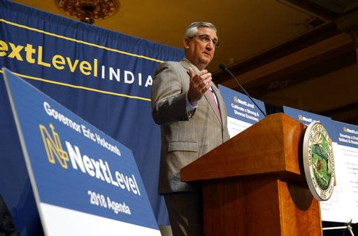 Indiana Gov. Eric Holcomb announces his agenda for the upcoming  legislative session at the Statehouse in Indianapolis, Wednesday, Nov. 8, 2017.