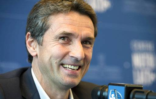 Remi Garde responds to a question as he is presented as the new head coach of the Montreal Impact during an MLS soccer news conference in Montreal, Wednesday, Nov. 8, 2017. (Paul Chiasson/The Canadian Press via AP)