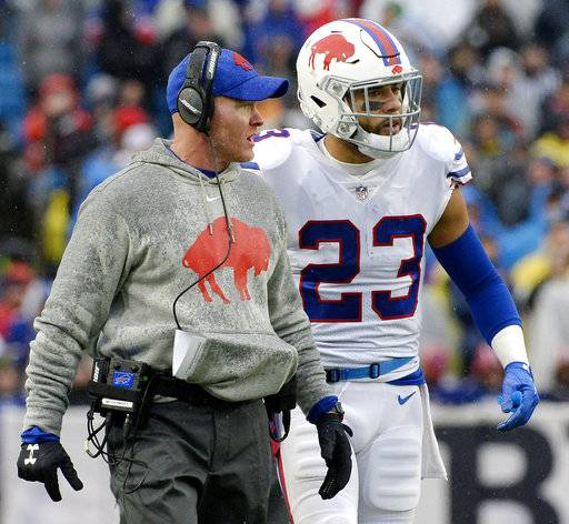 FILE - In this Sunday, Oct. 29, 2017, file photo, Buffalo Bills head coach Sean McDermott, left, talks with safety Micah Hyde (23) during the first half of an NFL football game against the Oakland Raiders in Orchard Park, N.Y. McDermott disputes the notion his opportunistic defense is showing signs of springing leaks. Yards allowed, McDemott says, don't matter as much as points, even though Buffalo has been surrendering plenty of both over the past three weeks and preparing to host the Drew Brees-led New Orleans Saints on Sunday.
