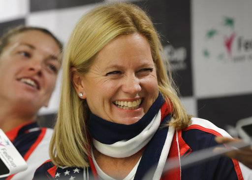 United States Fed Cup team captain Kathy Rinaldi smiles during a press conference prior to the Fed Cup by BNP Paribas Final matches between Belarus and USA, in Minsk, Wednesday, Nov. 8, 2017. The matches will take place Nov. 11 - 12, 2017.