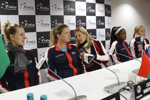 United States Fed Cup team members Alison Riske, CoCo Vandeweghe, captain Kathy Rinaldi, Sloane Stephens and Shelby Rogers, from left, attend a press conference prior to the Fed Cup by BNP Paribas Final matches between Belarus and USA, in Minsk, Wednesday, Nov. 8, 2017. The matches will take place Nov. 11 - 12, 2017.