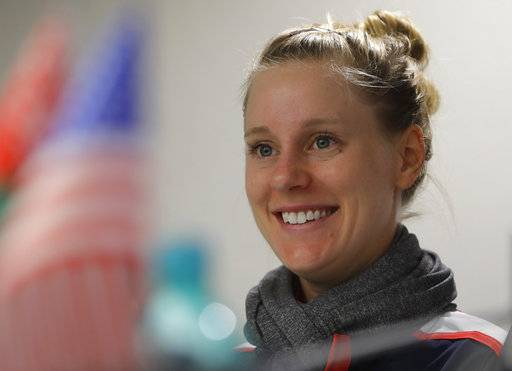 Alison Riske, of the United States, smiles during a press conference prior to the Fed Cup by BNP Paribas Final matches between Belarus and USA, in Minsk, Wednesday, Nov. 8, 2017. The matches will take place Nov. 11 - 12, 2017.