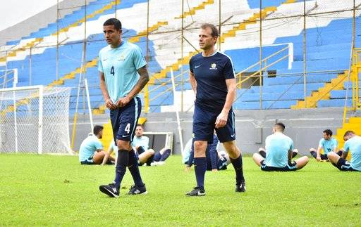Australia captain Tim Cahill, left, warms during a training session at the Francisco Morazan Stadium in San Pedro Sula, Honduras, Tuesday, Nov. 7, 2017. Australia and Honduras will face for the first leg of the World Cup playoff on Friday.