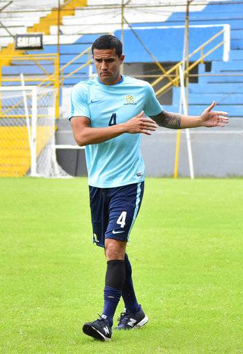 Australia captain Tim Cahill warms up during a training session at the Francisco Morazan Stadium in San Pedro Sula, Honduras, Tuesday, Nov. 7, 2017. Australia and Honduras will face for the first leg of the World Cup playoff on Friday.