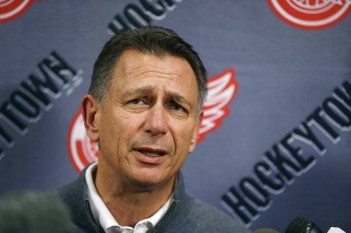 FILE - In this Wednesday, May 20, 2015, file photo, Detroit Red Wings General Manager Ken Holland addresses the media in Detroit. The Detroit Red Wings have been fading from elite status in the NHL for nearly a decade and a new arena isn't going to do much to fix their problems. They have a lot of players who belong in the league, but they don't have any stars to lead the franchise back to prominence, Tuesday, Nov. 7, 2017.