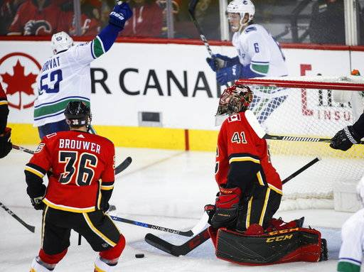 Vancouver Canucks' Bo Horvat, left, celebrates his goal as Calgary Flames goalie Mike Smith, right front, reacts during the third period of an NHL hockey game Tuesday, Nov. 7, 2017, in Calgary, Alberta. (Jeff McIntosh/The Canadian Press via AP)