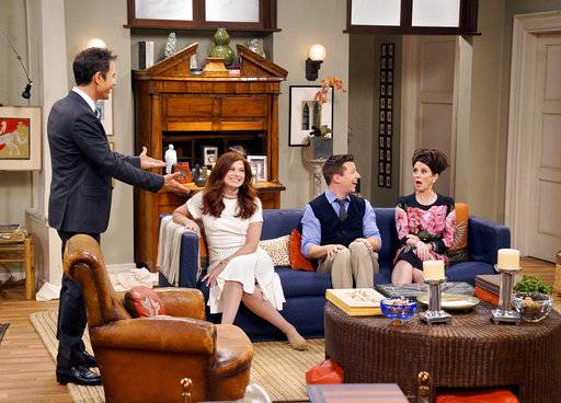 "Eric McCormack, left, Debra Messing, Sean Hayes and Megan Mullally star in ""Will & Grace."" A new study says TV series are including more LGBTQ characters and adding gender-nonconforming ones."