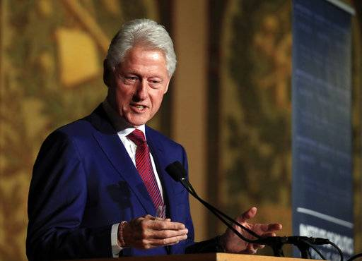 Former President Bill Clinton speaks at a symposium in Georgetown University in Washington, Monday, Nov. 6, 2017. (AP Photo/Manuel Balce Ceneta)