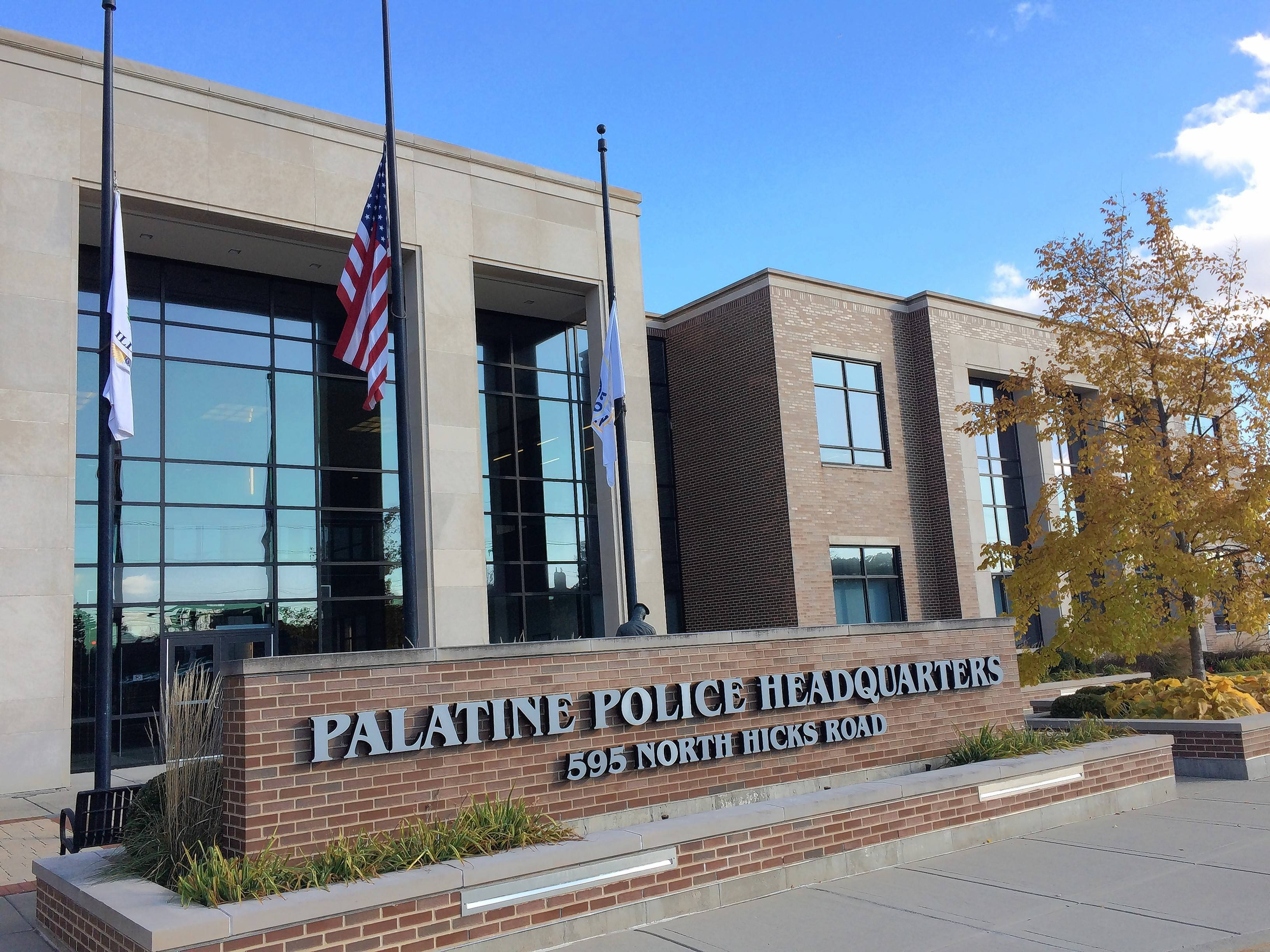 This is Palatine police headquarters on Hicks Road. Village officials are concerned about the escalating costs of police and fire pension contributions.