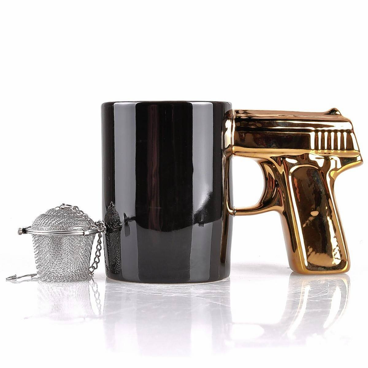 A cup of tea doesn't seem quite as quaint when it appears as if the drinker is holding a gun to his head.