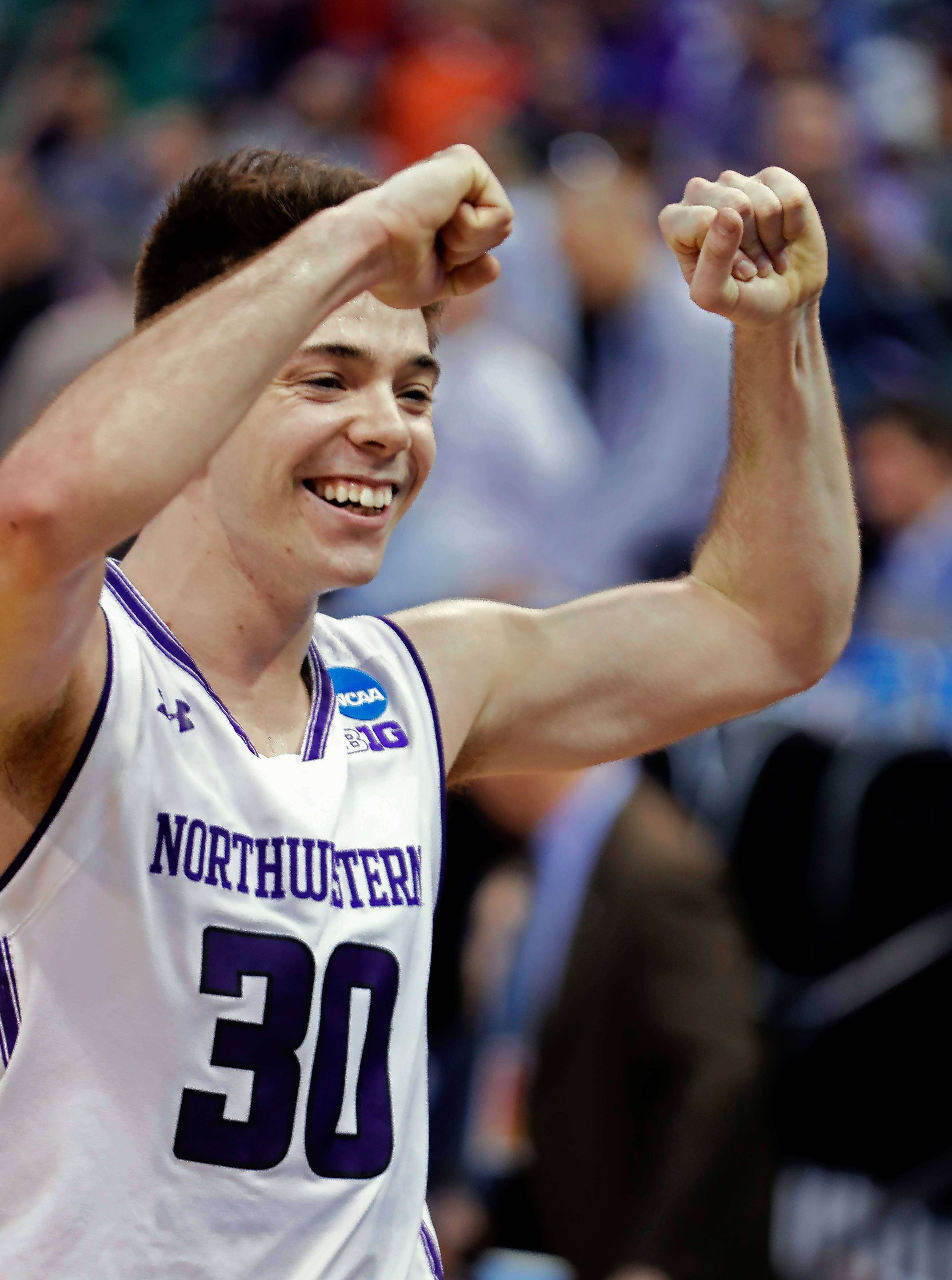 Northwestern guard Bryant McIntosh celebrates after Northwestern defeated Vanderbilt 68-66 in a first-round game in the NCAA men's college basketball tournament Thursday, March 16, 2017, in Salt Lake City.