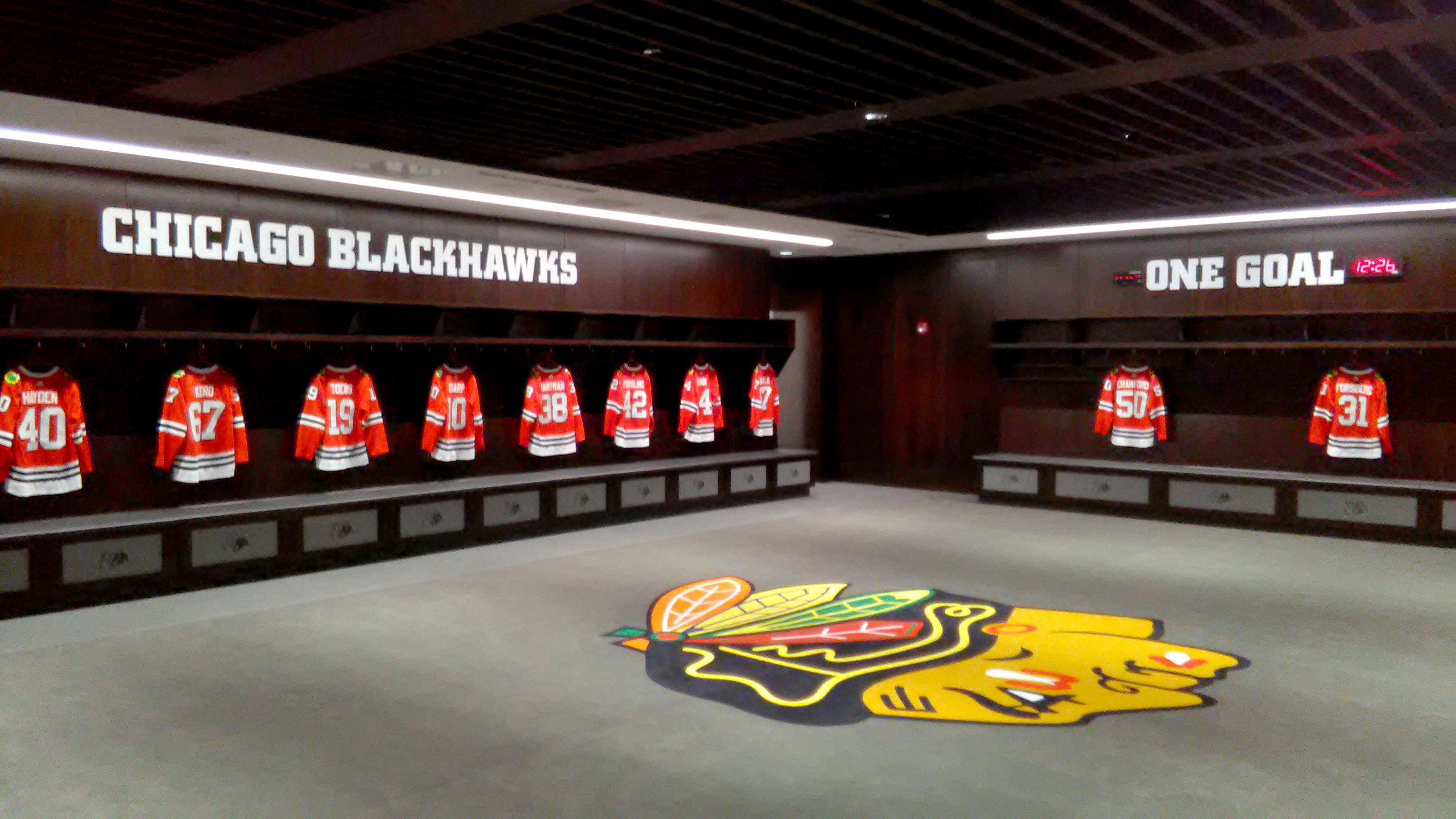 Here's a look at the locker room inside the new Chicago Blackhawks practice facility, MB Ice Arena, located at 1801 W. Jackson Blvd.