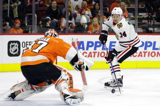 Chicago Blackhawks' Richard Panik, right, tries to get a shot past Philadelphia Flyers' Brian Elliott during the first period of an NHL hockey game, Thursday, Nov. 9, 2017, in Philadelphia.