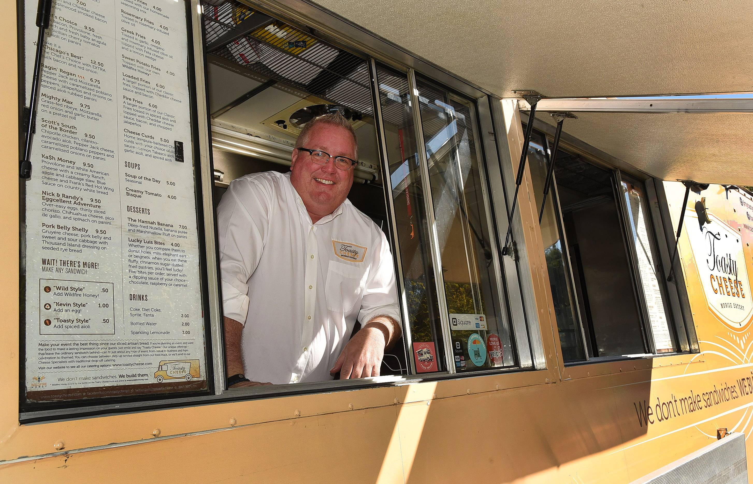 Greg Barnhart, owner of Toasty Cheese, is growing his food truck business based in Schaumburg. A variety of upscale products fill his cheese sandwiches, including duck bacon, cilantro-avacado aioli and Sicilian cherry tomatoes and apple/cabbage slaw.