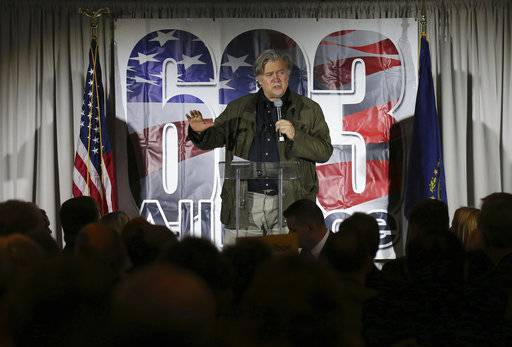 Steve Bannon, the former chief strategist to President Donald Trump, speaks during an event in Manchester, N.H., Thursday, Nov. 9, 2017.