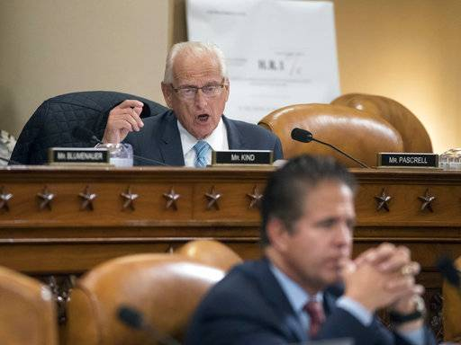 Rep. Bill Pascrell, D-N.J., voices objection to House Ways and Means Committee Chairman Kevin Brady, R-Texas, during debate on the GOP tax bill, on Capitol Hill in Washington, Thursday, Nov. 9, 2017.