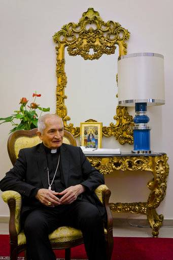 Archbishop Silvano Maria Tomasi, top papal advisor on nuclear weapons and disarmament, speaks to The Associated Press during an interview in Rome, Wednesday, Nov. 8, 2017, ahead of an International conference at the Vatican on Friday on nuclear weapons .
