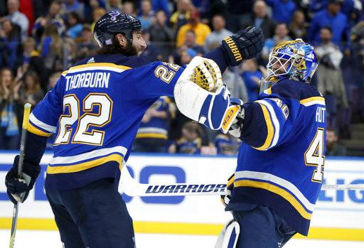 St. Louis Blues goalie Carter Hutton, right, and teammate Chris Thorburn celebrate following a 3-2 victory in a shootout over the Arizona Coyotes during an NHL hockey game Thursday, Nov. 9, 2017, in St. Louis.