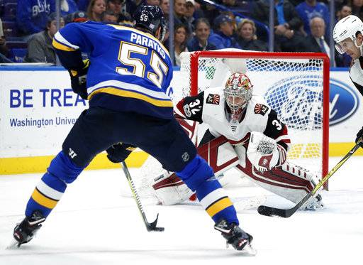 St. Louis Blues' Colton Parayko controls the puck as Arizona Coyotes goalie Antti Raanta, of Finland, watches during the second period of an NHL hockey game Thursday, Nov. 9, 2017, in St. Louis.