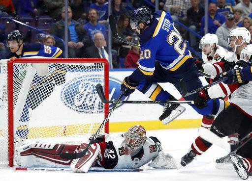 St. Louis Blues' Alexander Steen (20) leaps over Arizona Coyotes goalie Antti Raanta, of Finland, during the second period of an NHL hockey game Thursday, Nov. 9, 2017, in St. Louis.