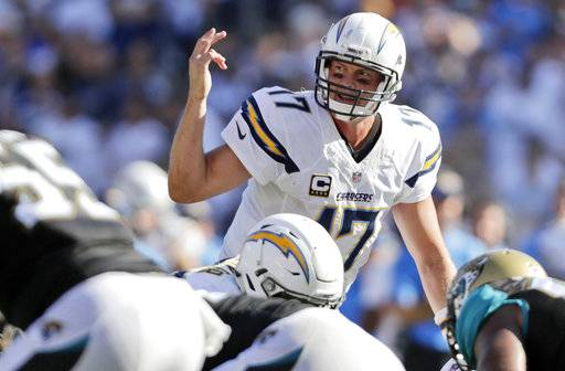 FILE - In this Sept. 18, 2016, file photo, San Diego Chargers quarterback Philip Rivers calls a play at the line of scrimmage during the second half of an NFL football game against the Jacksonville Jaguars in San Diego. The Chargers quarterback has torched Jacksonville's defense routinely, including each of the last four years. The 14th-year pro has completed 74.6 percent of his passes for 1,810 yards, with 18 touchdowns and two interceptions, while winning six straight against Jacksonville. (AP Photo/Ryan Kang, File)