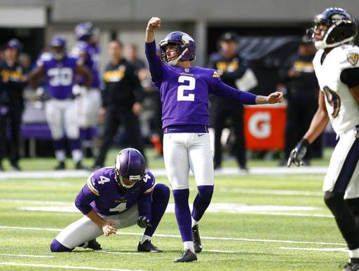 FILE - In this Oct. 22, 2017, file photo, Minnesota Vikings kicker Kai Forbath (2) kicks a 52-yard field goal during the first half of an NFL football game against the Baltimore Ravens, in Minneapolis. NFL kickers are thriving as much as ever. Ten of them are making 90 percent or more of their field goals, with 50-plus-yarders becoming more and more routine.