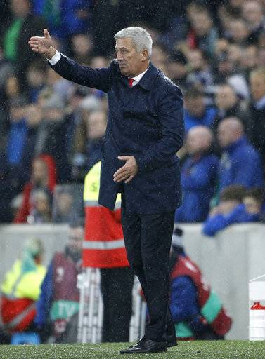 Switzerland manager Vladimir Petkovic gestures during the World Cup qualifying play-off first leg soccer match between Northern Ireland and Switzerland at Windsor Park in Belfast, Northern Ireland, Thursday Nov. 9, 2017.