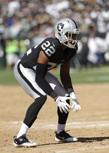 FILE - In this Sept. 17, 2017, file photo, Oakland Raiders cornerback Gareon Conley readies for a play by the New York Jets during the second half of an NFL football game in Oakland, Calif. With top two picks Conley and Obi Melifonwu missing most of their rookie seasons with injuries and a group of defensive tackles taken in recent years failing to bolster a lacking interior pass rush, the Raiders have struggled all season defensively.