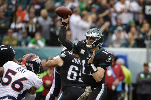 FILE - In this Sunday, Nov. 5, 2017, file photo, Philadelphia Eagles' Carson Wentz throws a pass during an NFL football game against the Denver Broncos in Philadelphia. Looks like a three-man race for MVP and, considering where the NFL game is these days, they all are quarterbacks: Carson Wentz, Tom Brady and Alex Smith.